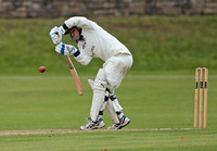 Defence by Macclesfield batsman Alex Griffiths