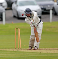 Jack Dickinsion of Bollington is bowled