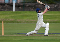 John Birchall of Macclesfield follows through after hitting a 6